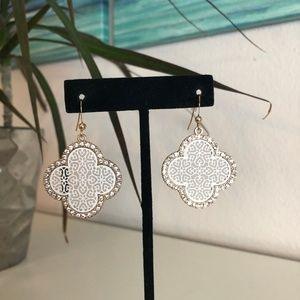 Rhinestone and White Filigree Earrings